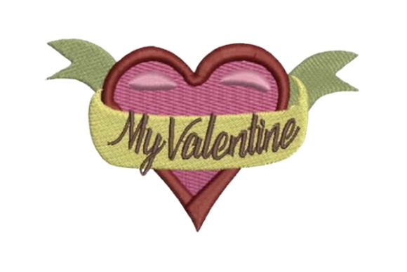 Download Free Heart With Ribbon My Valentine Creative Fabrica for Cricut Explore, Silhouette and other cutting machines.