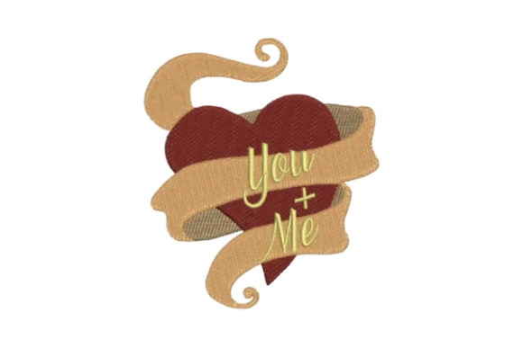 Heart with Ribbon You + Me Valentine's Day Embroidery Design By Embroidery Designs