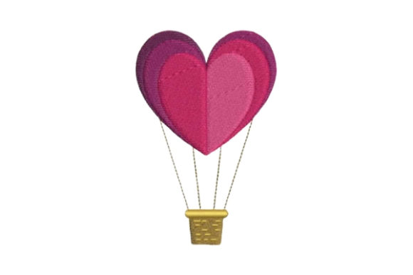 Heart-shaped Hot Air Balloon Valentine's Day Embroidery Design By Embroidery Designs