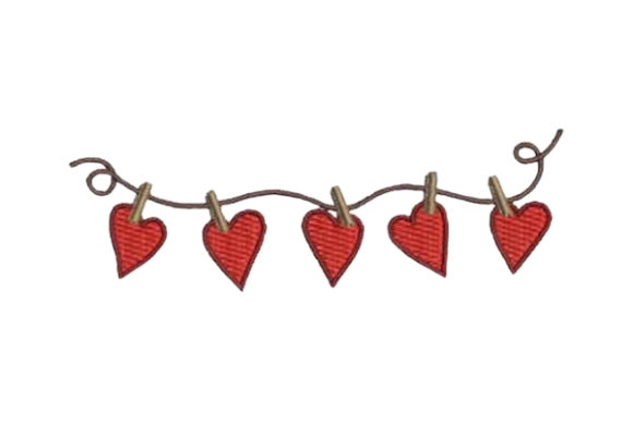 Hearts Pinned on a String Valentine's Day Embroidery Design By Embroidery Designs