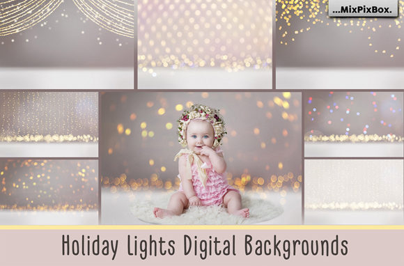 Print on Demand: Holiday Lights Digital Backgrounds Graphic Layer Styles By MixPixBox