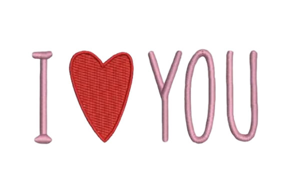 I Heart You Valentine's Day Embroidery Design By Embroidery Designs - Image 1