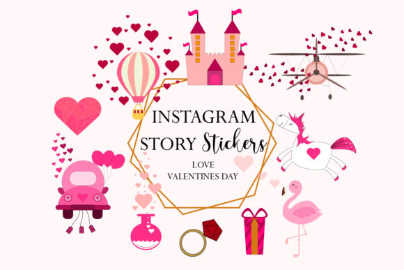 Download Free Instagram Valentine S Day Stickers Graphic By Igraphic Studio for Cricut Explore, Silhouette and other cutting machines.