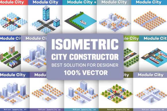 Print on Demand: Isometric City Constructor Graphic Illustrations By AlexZel