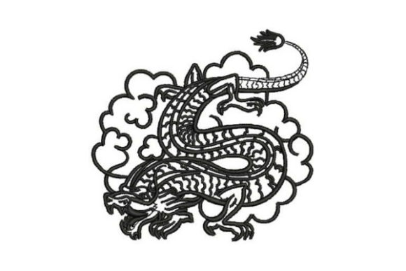 Japanese Style Tattoo Dragon Asia Embroidery Design By Embroidery Designs - Image 1