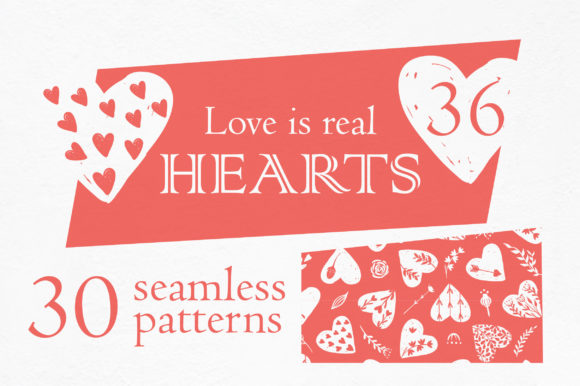 Print on Demand: Love is Real Hearts and Patterns Graphic Patterns By KatiaZhe