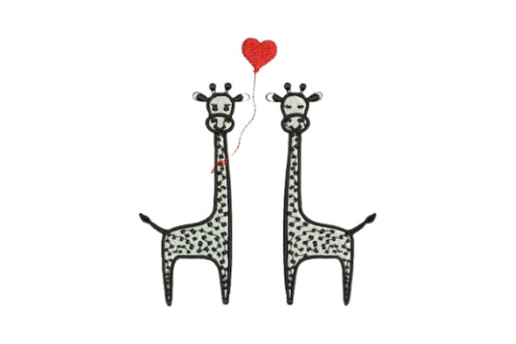 Lover Giraffes Valentine's Day Embroidery Design By Embroidery Designs