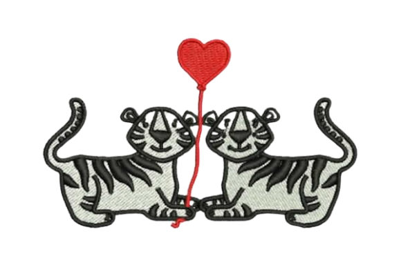 Lover Tigers Valentine's Day Embroidery Design By Embroidery Designs