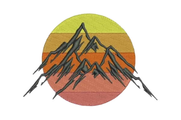 Mountains Camping & Fishing Embroidery Design By Embroidery Designs