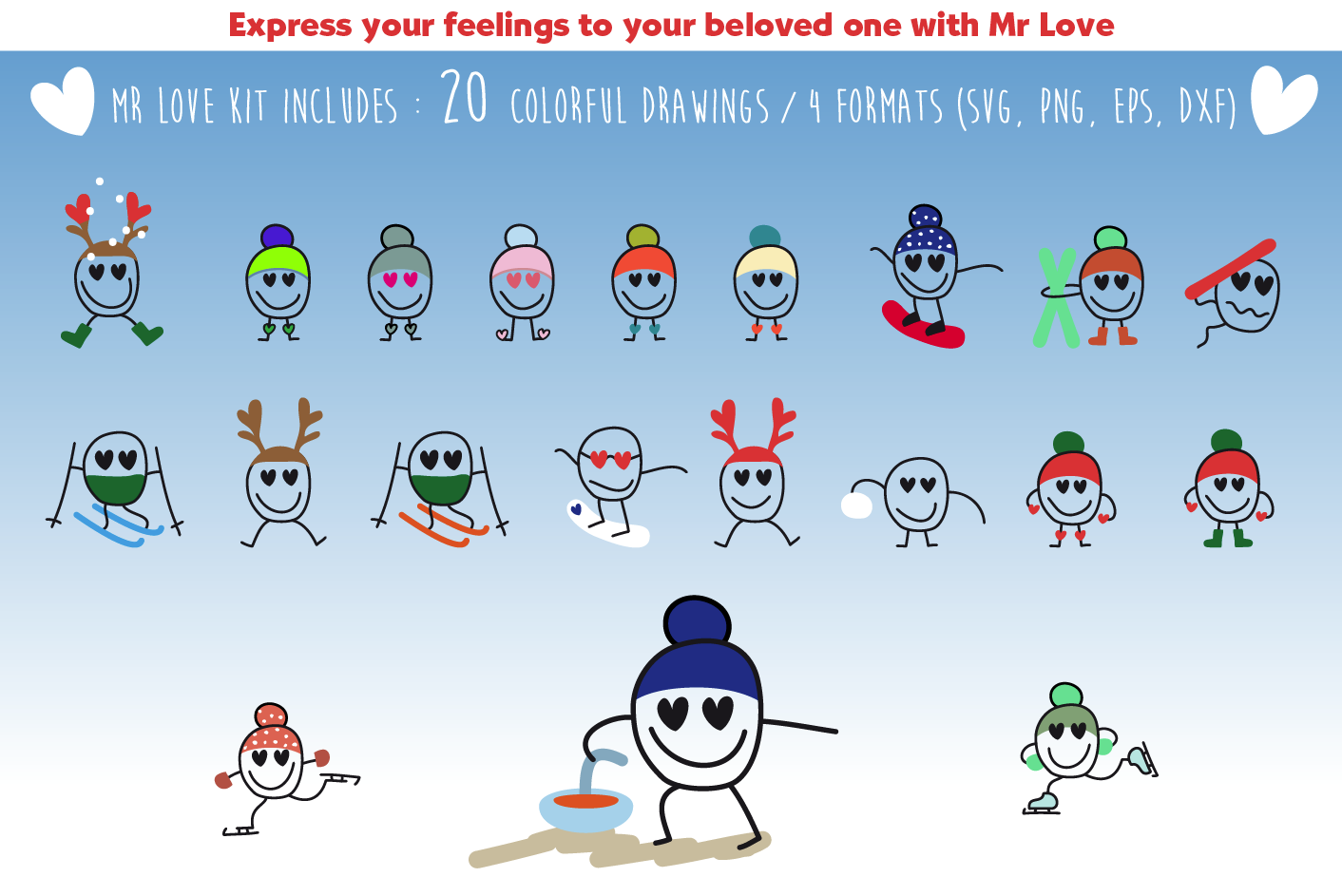 Download Free Mr Love In Wintersport Graphic By Adelehoussin Creative Fabrica for Cricut Explore, Silhouette and other cutting machines.