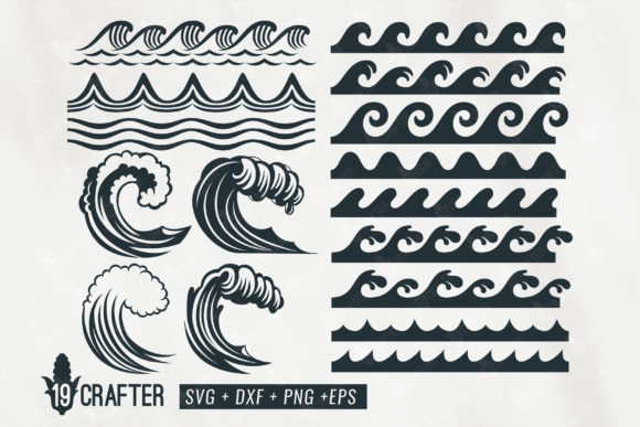 Print on Demand: Ocean Wave  Bundle Graphic Crafts By great19 - Image 1