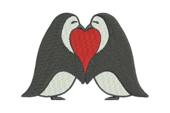 Penguin Love Valentine's Day Embroidery Design By Embroidery Designs