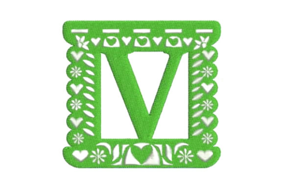Papel Picado Alphabet V Mexico Embroidery Design By Embroidery Designs