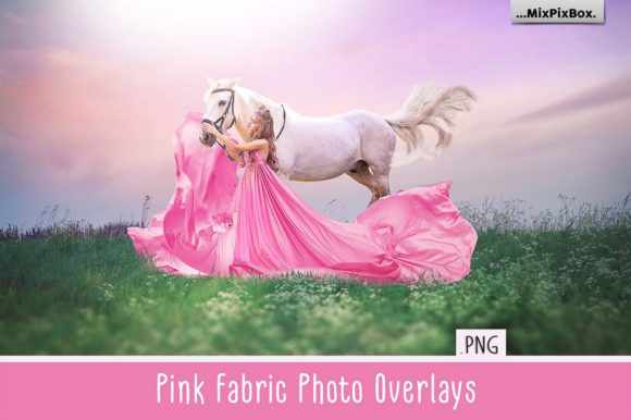 Print on Demand: Pink Flying Fabric Photo Overlays Graphic Layer Styles By MixPixBox