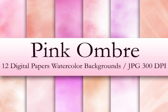 Pink Ombre Watercolor Digital Papers Graphic Backgrounds By PinkPearly
