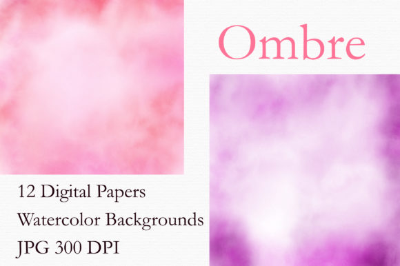 Pink Ombre Watercolor Digital Papers Graphic Backgrounds By PinkPearly - Image 2