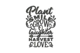 Plant Smile Grow House & Home Quotes Embroidery Design By Embroidery Designs