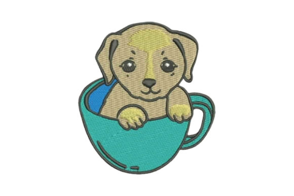 Puppy in Cup Dogs Embroidery Design By Embroidery Designs