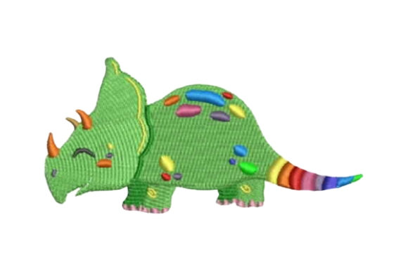Rainbow Colored Dinosaur Dinosaurier Stickdesign von Embroidery Designs