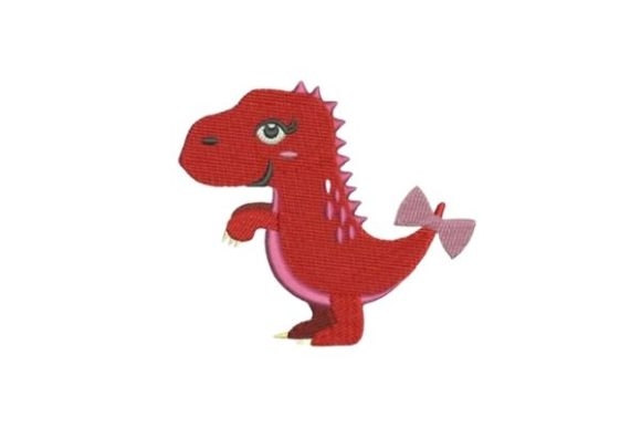 Red Dinosaur Girl Dinosaurs Embroidery Design By Embroidery Designs - Image 1
