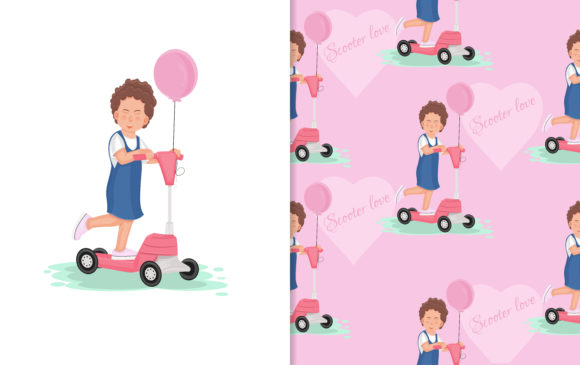Download Free Scooter Cartoon Kids Graphic By Ngabeivector Creative Fabrica for Cricut Explore, Silhouette and other cutting machines.