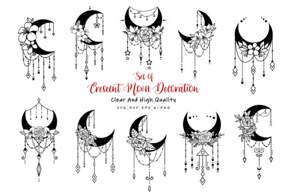 Download Free Set Of Crescent Moon Decoration Graphic By Allmostudio for Cricut Explore, Silhouette and other cutting machines.