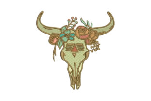 Skull with Flowers Boho Embroidery Design By Embroidery Designs