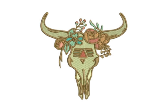 Skull with Flowers Boho Diseños de bordado Por Embroidery Designs