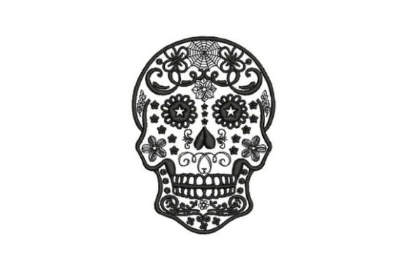 Sugar Skull Black Tattoo Mexiko Stickdesign von Embroidery Designs