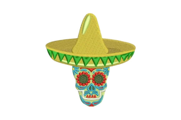 Sugar Skull Wearing a Sombrero Mexico Embroidery Design By Embroidery Designs - Image 1