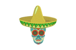 Sugar Skull Wearing a Sombrero Mexico Embroidery Design By Embroidery Designs