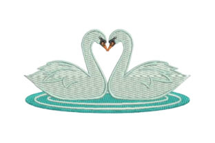 Swan Heart Birds Embroidery Design By Embroidery Designs