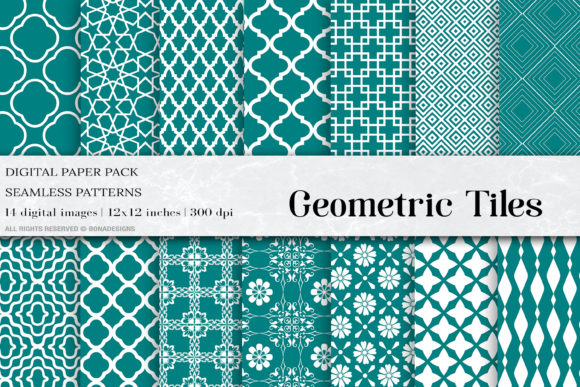 Teal Geometric Tiles Graphic Patterns By BonaDesigns