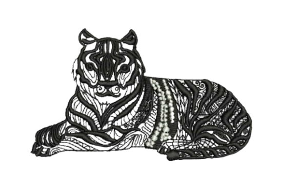 Tiger Lying Down Zentangle Zentangle Embroidery Design By Embroidery Designs