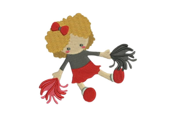 Toy Doll in Cheerleader Uniform Spielzeug & Games Stickdesign von Embroidery Designs
