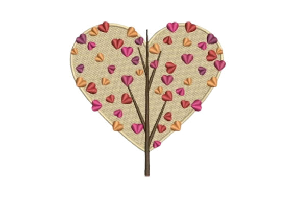 Tree with Heart Foliage Valentine's Day Embroidery Design By Embroidery Designs