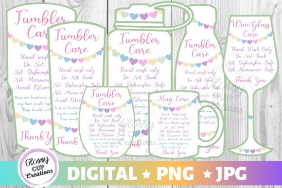 Print on Demand: Tumbler Care Cards Hearts Graphic Crafts By suzannecornejo
