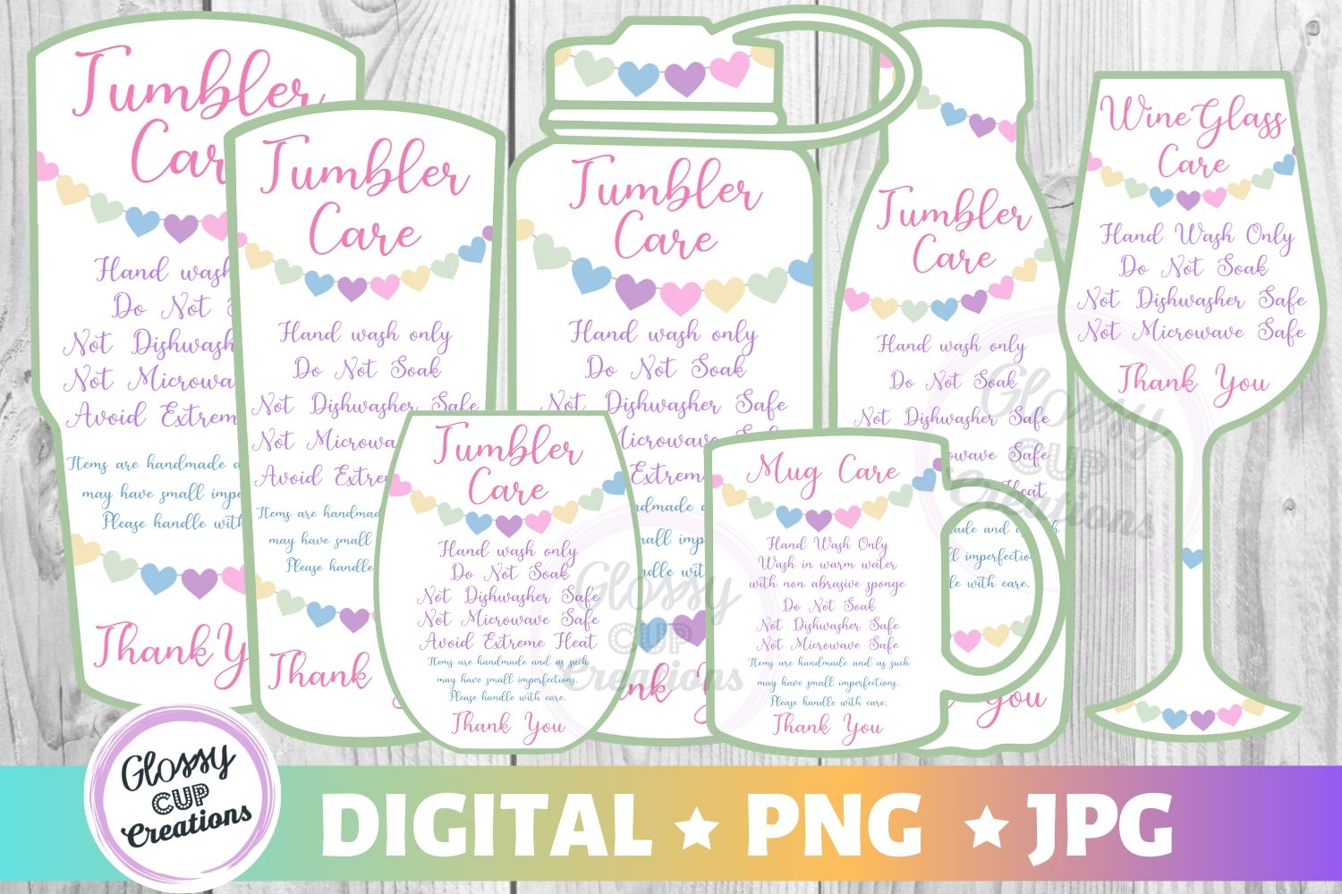 Download Free Tumbler Care Cards Hearts Graphic By Suzannecornejo Creative for Cricut Explore, Silhouette and other cutting machines.