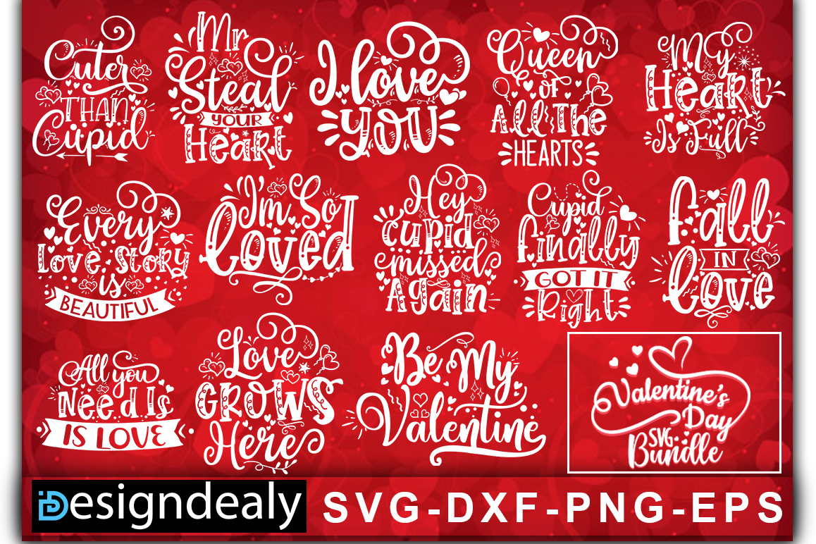 Download Free Valentine Bundle Graphic By Designdealy Com Creative Fabrica for Cricut Explore, Silhouette and other cutting machines.