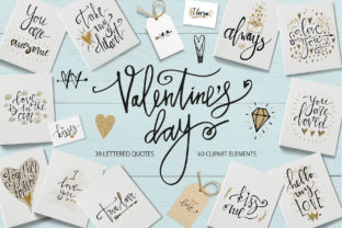 Valentine's Day Lettering & Clipart Graphic Illustrations By Kooliibriiart