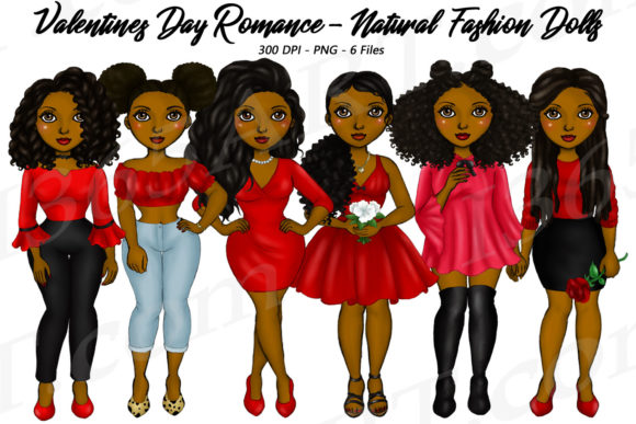 Valentine's Day Natural Hair Girls Graphic Illustrations By Deanna McRae