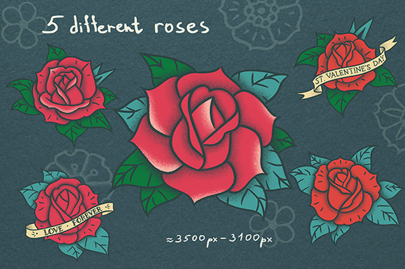 Download Free Valentine S Day Old Tattoo Style Graphic By Alenao Creative for Cricut Explore, Silhouette and other cutting machines.
