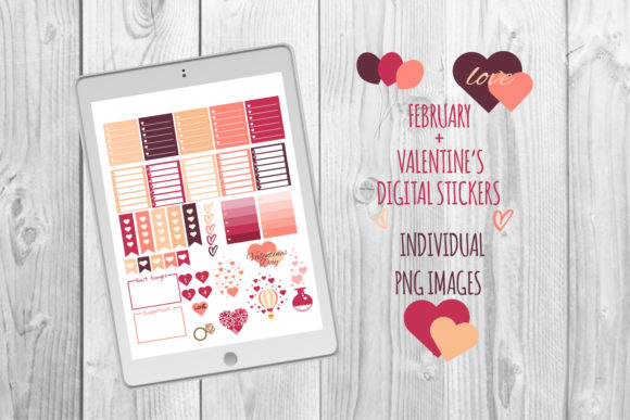 Valentine's Day Stickers Graphic Print Templates By Igraphic Studio