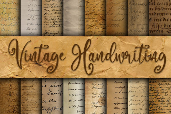 Vintage Handwriting Digital Paper Graphic Textures By oldmarketdesigns