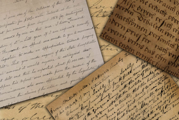 Vintage Handwriting Digital Paper Graphic Textures By oldmarketdesigns - Image 3