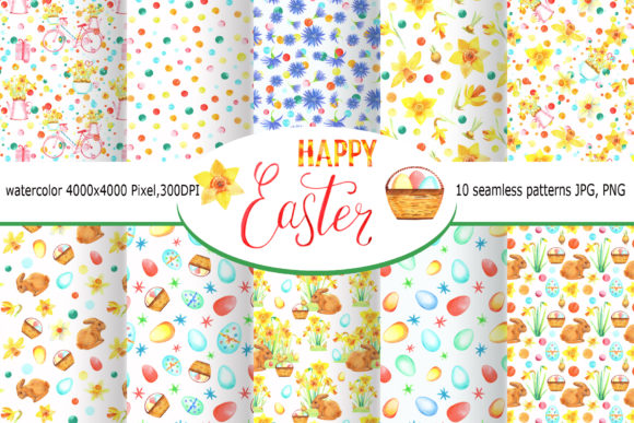 Watercolor Happy Easter Seamless Pattern Graphic Illustrations By evgenia_art_art