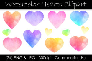 Watercolor Heart Graphic Objects By GJSArt 1