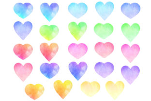 Watercolor Heart Graphic Objects By GJSArt 2
