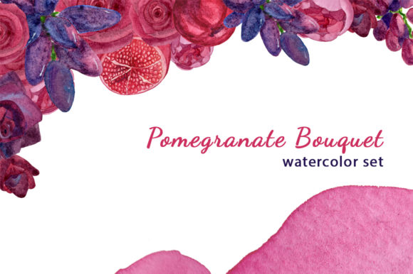 Print on Demand: Watercolor Pomegranante Bouquet Graphic Illustrations By s.yanyeva