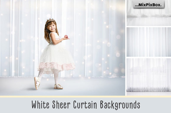 Print on Demand: White Sheer Curtain Backgrounds Gráfico Estilos de capas Por MixPixBox